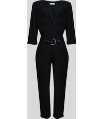 macacão feminino com bolsos e cinto manga 3/4 preto