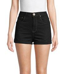 contrast-stitch denim shorts