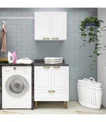 conjunto lavanderia multiuso armã¡rio com balcã£o 100% mdf multimã³veis branco - branco/incolor - dafiti