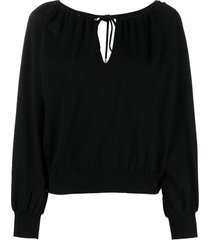 alberta ferretti braided keyhole-neck blouse - black