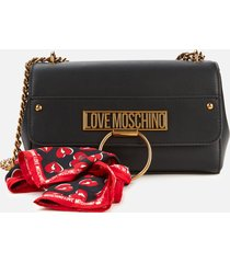 love moschino women's cross body bag with scarf - black