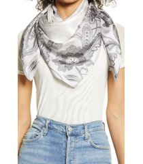 women's nordstrom print silk square scarf, size one size - grey