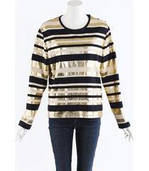 chanel metallic striped jersey top blue/gold sz: m