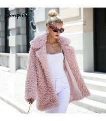 women pink warm winter faux fur long casual coat parka cardigan outerwear