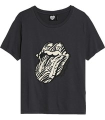 catwalk junkie t-shirt rolling stones zebra stripes grijs