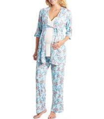 women's everly grey susan 5-piece maternity/nursing pajama set, size x-small - blue