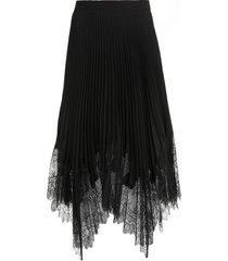 tory burch lace-trim sunburst pleated skirt
