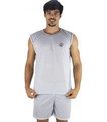 pijama mvb modas curto adulto camiseta cinza.
