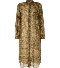 junya watanabe sheer leopard print shirt dress - brown