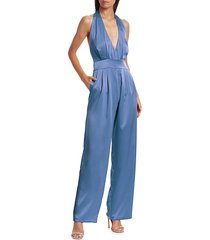 carolina ritzler women's silk halter jumpsuit - light blue - size 36 (0)