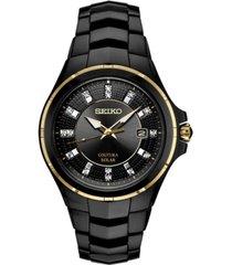 seiko men's coutura diamond-accent black stainless steel bracelet watch 42.5mm