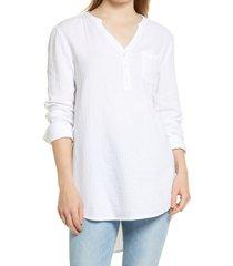 women's caslon women's long sleeve high/low tunic, size large - white