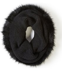lane bryant women's faux fur-trimmed infinity scarf onesz black
