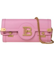 balmain clutch b-buzz 23 in pink smooth leather