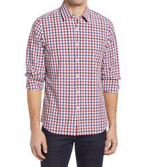 men's move performance apparel trim fit check button-up shirt, size xx-large r - red
