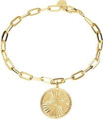 bracciale con charm mondo in bronzo dorato per donna