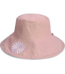 embroidery flower pattern bucket hat