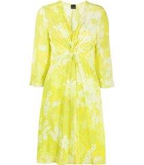 pinko 3/4 sleeve short dress - yellow