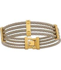 bracelete de aço inox tudo joias dupla cor com 15mm de largura