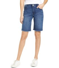 women's wit & wisdom ab-solution retro high waist denim bermuda shorts, size 0 - blue (nordstrom exclusive)