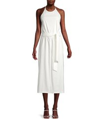 alice + olivia by stacey bendet women's franny tie-belt cropped jumpsuit - off white - size 10