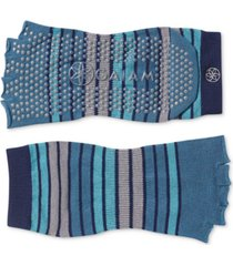 gaiam striped grippy toeless yoga socks