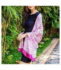 rayon and silk blend shawl, 'pink plaid batik' (thailand)