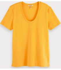 scotch & soda basic t-shirt met wijde hals