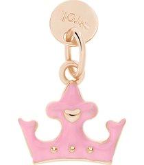 charm in argento rosato e smalto corona per donna