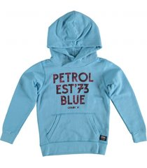 petrol lichtblauwe sweater hoodie