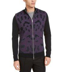 inc men's onyx full-zip sweater, created for macy's