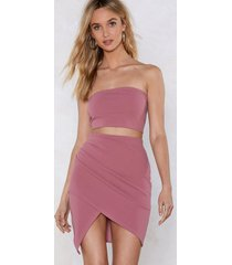 womens matching bandeau top and skirt set - rose