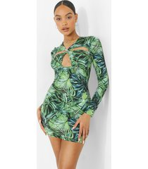 gedraaide palm print mini jurk met uitsnijding, green
