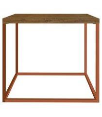 mesa cube lateral vermont/cobre artesano móveis marrom/cobre