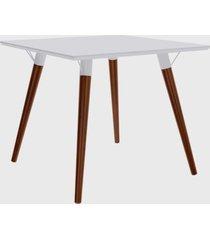 mesa quadrada valentinna branco/pé escuro retrô artesano