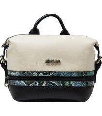 bolsa mochila de couro recuo fashion bag preto/cobra