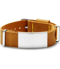 men's brown leather buckle id bracelet