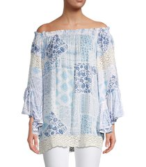surf gypsy women's swiss dot crochet trim cover-up top - blue patch - size s