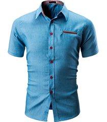 camisas hombres top camisa casual vestido para hombre ropa botón-azul