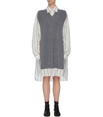 v-neck rib knit panel striped oversized shirt dress
