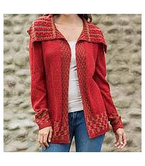 alpaca blend cardigan, 'enchanted crimson' (peru)
