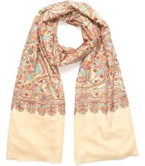 floral embroidered pashmina scarf