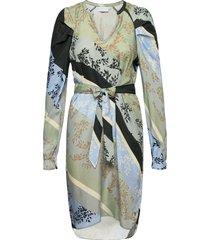 dress in cupro w. belt and volume s dresses everyday dresses multi/patroon coster copenhagen