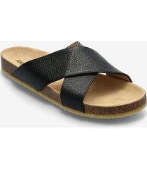 sandals - flat - open toe - op shoes summer shoes sandals svart angulus