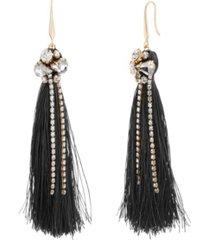 catherine malandrino women's white toned jewels black tassel yellow gold-tone hook earrings