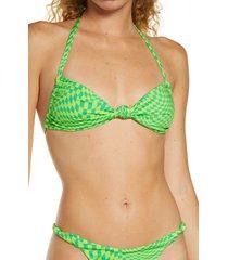 women's frankies bikinis gabe checker print knotted halter bikini top