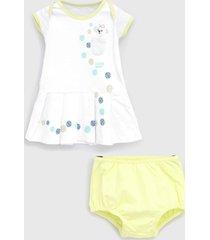 vestido lilica ripilica infantil com tapa fralda branco/verde
