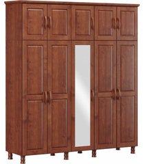 roupeiro bipartido 10 portas 3 gavetas e 1 espelho finestra linha bronze cor imbuia