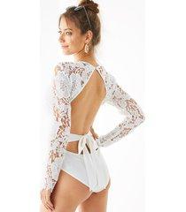yoins body de encaje de ganchillo blanco bowknot diseño