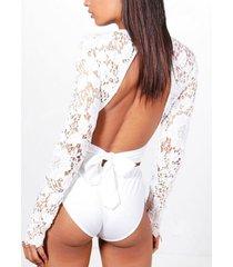 yoins white crochet lace bowknot design bodysuit